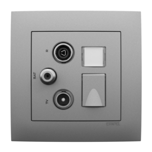 Мультимедийная розетка ТВ– Радио–Спутник–RJ45 кат. 6 UTP - Aquarella AL