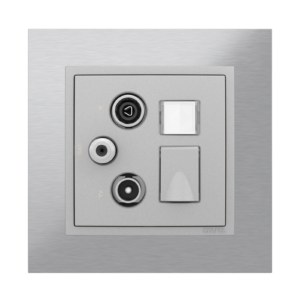 Мультимедийная розетка ТВ– Радио–Спутник–RJ45 кат. 6 UTP  - Metallo IA