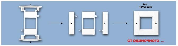 10950 abr - Модульный суппорт для каналов с крышкой 75мм – 2 модуля q45