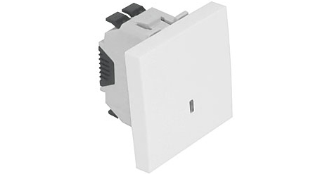 Одноклавишный выключатель – 2 модуля с подсветкой – белый 1