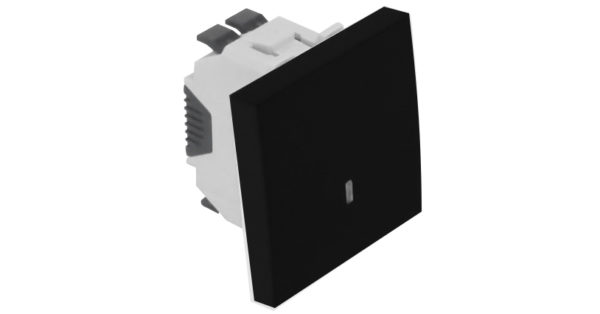 Одноклавишный выключатель – 2 модуля с лампой подсветки – черный 1