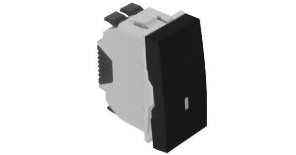 Одноклавишный выключатель – 1 модуль с лампой подсветки – черный 1