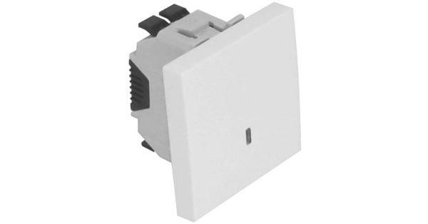 Проходной выключатель – 2 модуля с подсветкой – алюминий 1