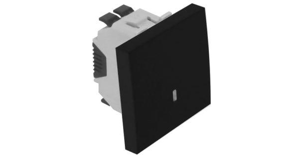 Проходной выключатель с лампой подсветки – 2 модуля – черный 1