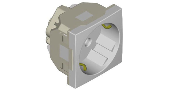 Розетка 2к+З  (45х45) – алюминий 1