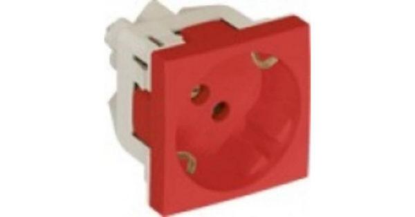 Розетка 2к+З с защитными шторками (45х45) – красная 1
