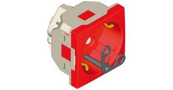 Розетка 2к+З с ключом и сигнальной лампой (45х45 -) – красная  1