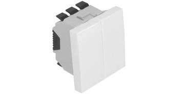 Двойная кнопка – 2 модуля – белый 1