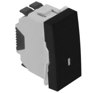 Кнопка с лампой подсветки (250 В) - 1 модуль - черный