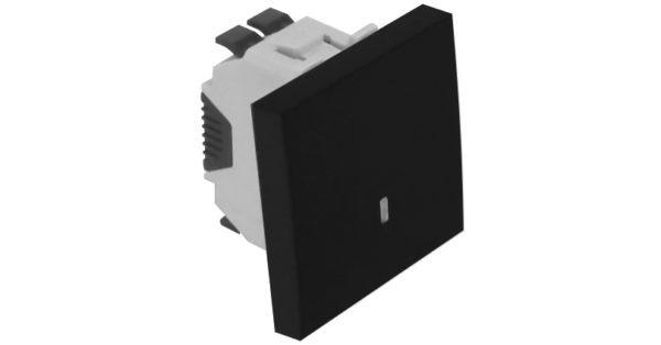 Кнопка с лампой подсветки (12 В) – 2 модуля – черный 1