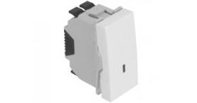 Кнопка  - 1 модуль с подсветкой (12V) - белый