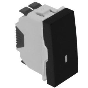 Кнопка с лампой подсветки (12 В) - 1 модуль - черный