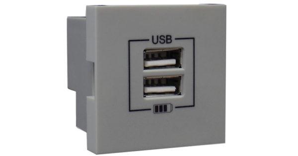 Розетка USB двойная – зарядная – алюминий 1