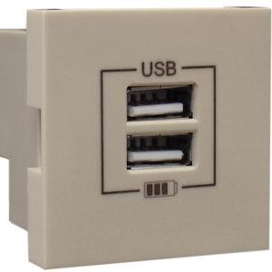 Розетка USB двойная - зарядная - шампань
