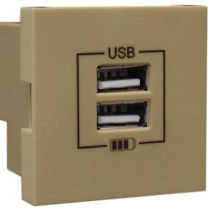 Розетка USB двойная - зарядная - золото