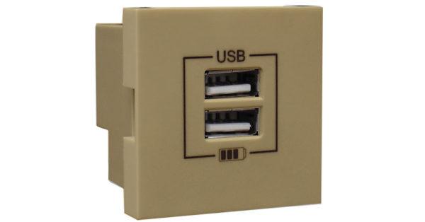 Розетка USB двойная – зарядная – золото 1