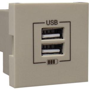 Розетка USB двойная - зарядная - жемчуг