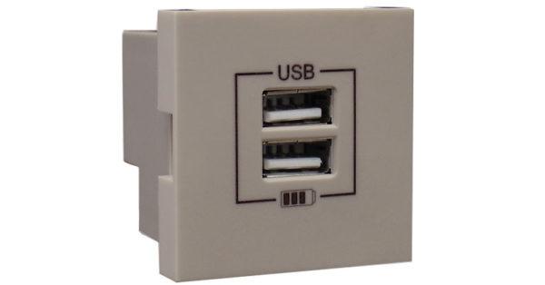 Розетка USB двойная – зарядная – платина 1