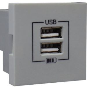 Розетка USB двойная - зарядная - серебро