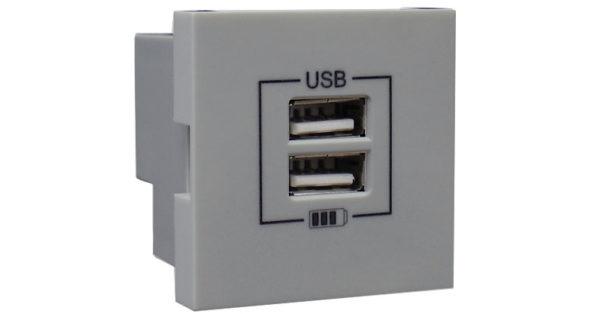 Розетка USB двойная – зарядная – серебро 1