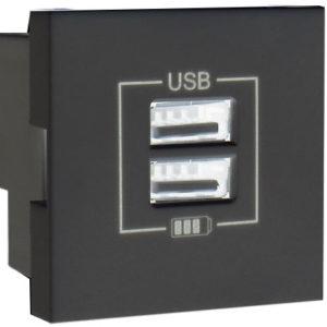 Розетка USB двойная - зарядная - черный (глянец)