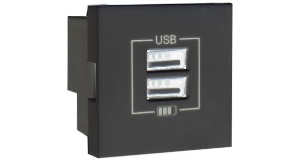 Розетка USB двойная – зарядная – черный (глянец) 1