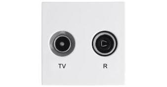 ТВ/Радио розетка 45х45 – оконечная – белый 1