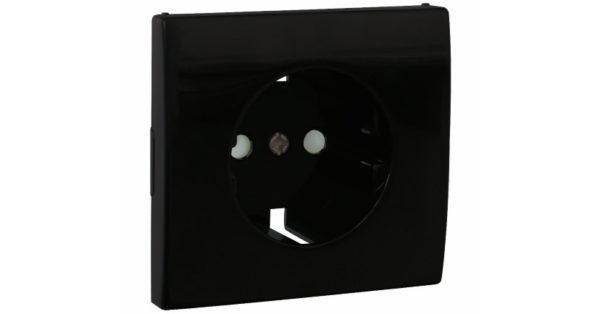 Лицевая панель Apolo 5000 для розетки 2к+З с защитными шторками – чёрная 1