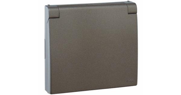 Лицевая панель Apolo 5000 для розетки 2к+З с защитной крышкой – графит  1