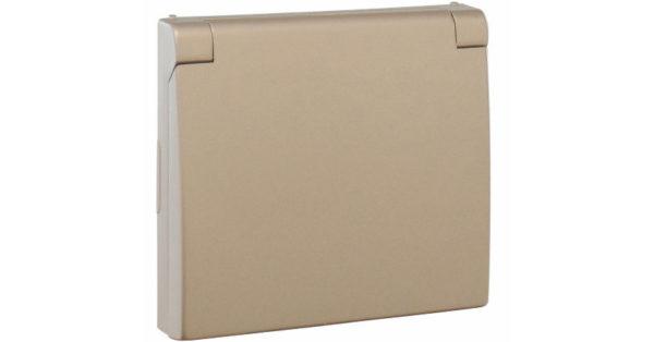 Лицевая панель Apolo 5000 для розетки 2к+З с защитной крышкой – платина  1