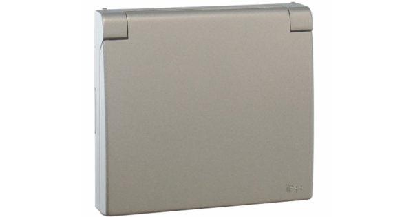 Лицевая панель Apolo 5000 для розетки 2к+З с защитной крышкой – серебро  1